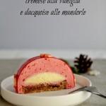 Bûche di Natale alla mousse di lamponi, cremoso alla vaniglia e dacquoise alle mandorle