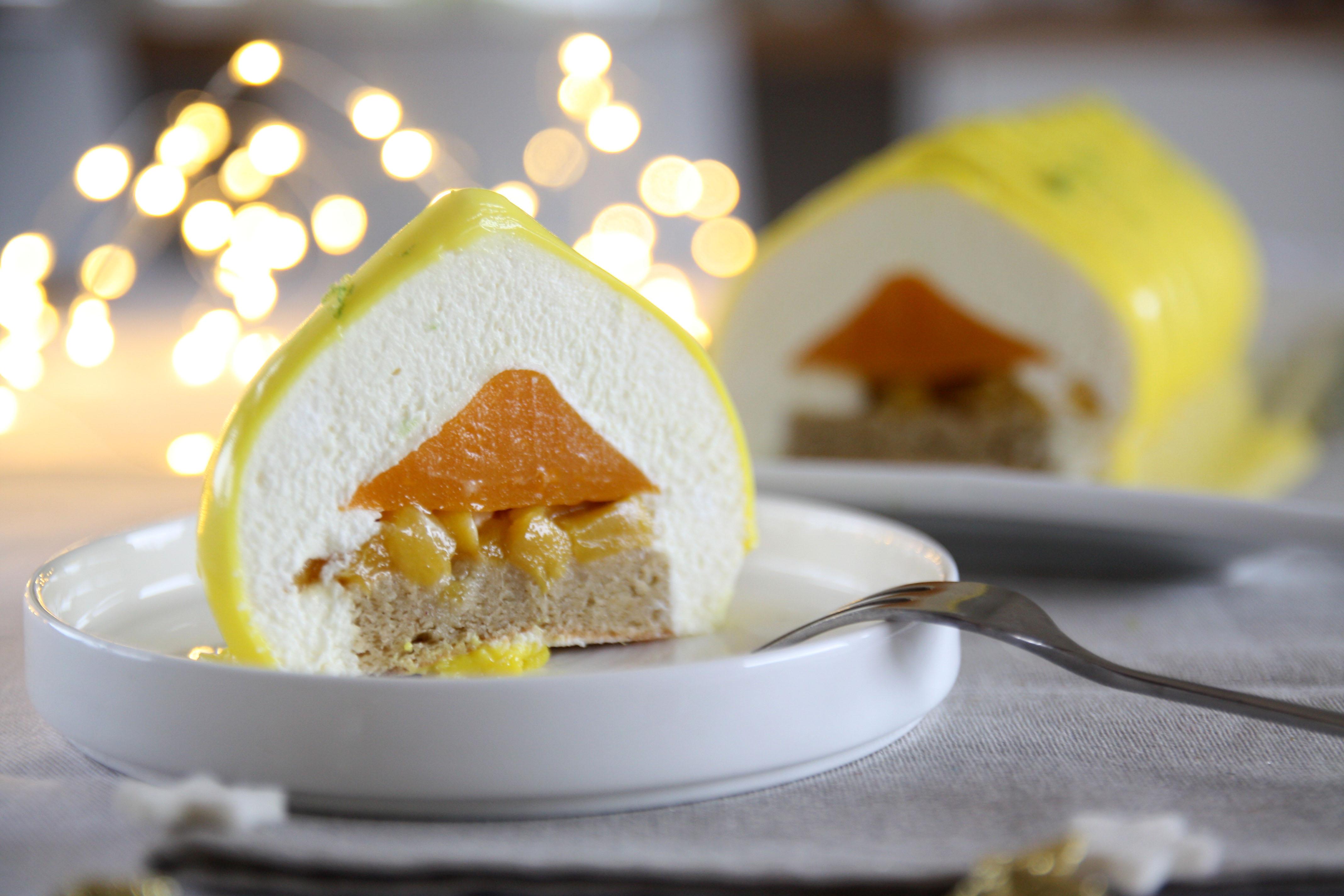 Ricetta Tronchetto Di Natale Per 10 Persone.Tronchetto Moderno Al Pistacchio Con Frutti Esotici E Mousse Al